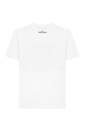Детская хлопковая футболка STONE ISLAND белого цвета, арт. 721621055/6-8 | Фото 2