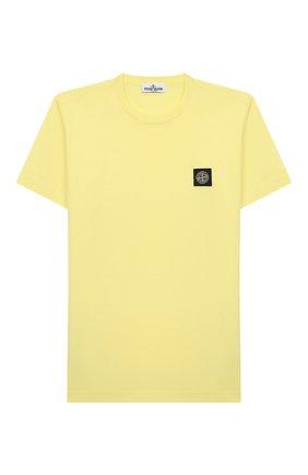 Детская хлопковая футболка STONE ISLAND желтого цвета, арт. 721620147/10-12 | Фото 1
