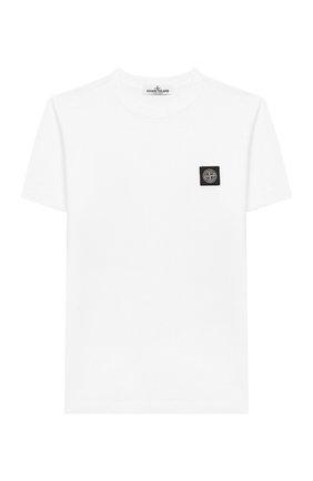 Детская хлопковая футболка STONE ISLAND белого цвета, арт. 721620147/6-8 | Фото 1