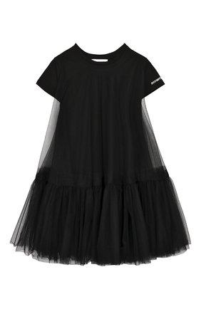Детская удлиненная футболка SCRAMBLED_EGO черного цвета, арт. BJ182 | Фото 1