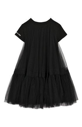 Детская удлиненная футболка SCRAMBLED_EGO черного цвета, арт. BJ182 | Фото 2