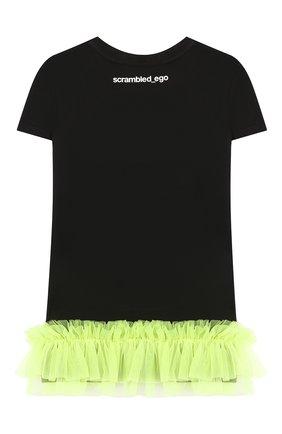 Детская хлопковая футболка SCRAMBLED_EGO черного цвета, арт. BJ157 | Фото 2