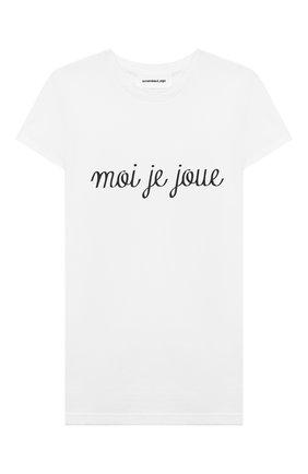 Детская хлопковая футболка SCRAMBLED_EGO белого цвета, арт. BJ150 | Фото 1
