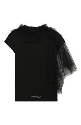 Детская хлопковая футболка SCRAMBLED_EGO черного цвета, арт. BJ145 | Фото 2