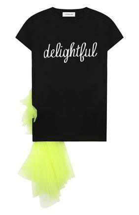 Детская удлиненная футболка SCRAMBLED_EGO черного цвета, арт. BJ141 | Фото 1