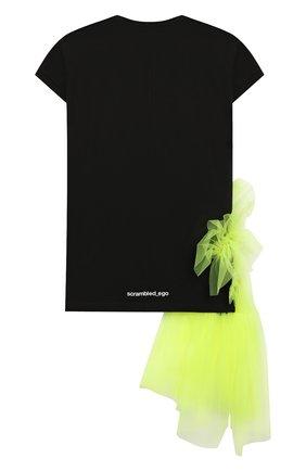 Детская удлиненная футболка SCRAMBLED_EGO черного цвета, арт. BJ141 | Фото 2