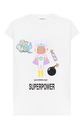 Детская удлиненная футболка SCRAMBLED_EGO белого цвета, арт. BJ136 | Фото 1