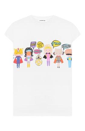 Детская удлиненная футболка SCRAMBLED_EGO белого цвета, арт. BJ133 | Фото 1