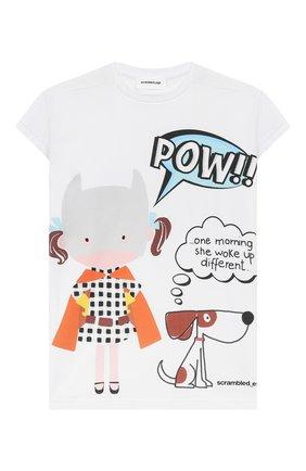 Детская удлиненная футболка SCRAMBLED_EGO белого цвета, арт. BJ130 | Фото 1