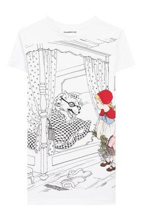 Детская хлопковая футболка SCRAMBLED_EGO белого цвета, арт. BJ106 | Фото 1