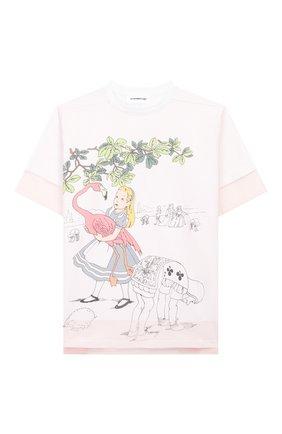 Детская хлопковая футболка SCRAMBLED_EGO белого цвета, арт. BJ105 | Фото 1