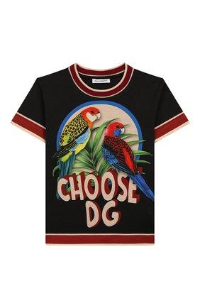 Детская хлопковая футболка DOLCE & GABBANA черного цвета, арт. L4JTBL/G7WG0/2-6 | Фото 1