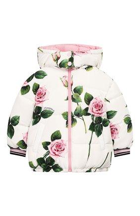 Детского пуховая куртка DOLCE & GABBANA белого цвета, арт. L5JBIL/G7VHI/2-6 | Фото 1