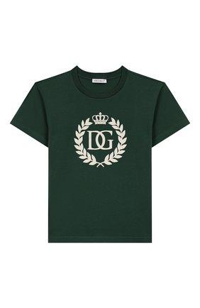 Детская хлопковая футболка DOLCE & GABBANA зеленого цвета, арт. L4JTBL/G7W0K/2-6 | Фото 1