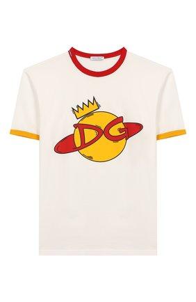 Детская хлопковая футболка DOLCE & GABBANA белого цвета, арт. L4JTBD/G7V00/8-14   Фото 1