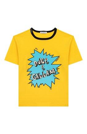 Детская хлопковая футболка DOLCE & GABBANA желтого цвета, арт. L4JTAU/G7V0M/2-6 | Фото 1