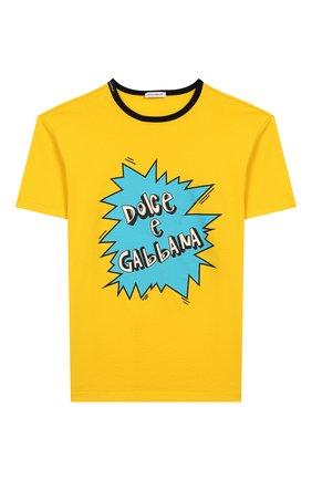 Детская хлопковая футболка DOLCE & GABBANA желтого цвета, арт. L4JTAU/G7V0M/8-14 | Фото 1