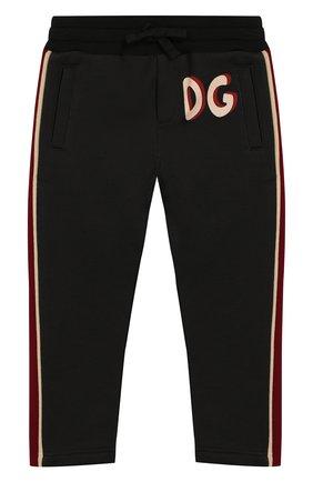 Детские хлопковые брюки DOLCE & GABBANA черного цвета, арт. L4JPBB/G7WGN/2-6   Фото 1