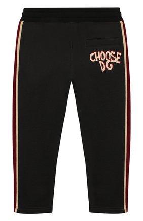 Детские хлопковые брюки DOLCE & GABBANA черного цвета, арт. L4JPBB/G7WGN/2-6   Фото 2