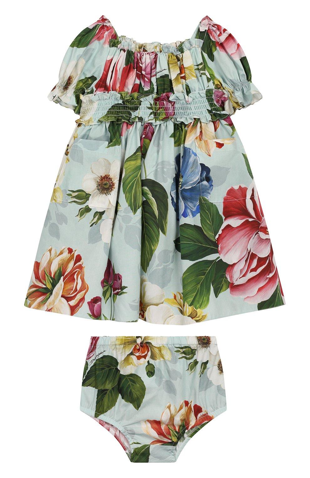 Женская комплект из платья и шорт DOLCE & GABBANA голубого цвета, арт. L22DE5/HS5GB | Фото 1