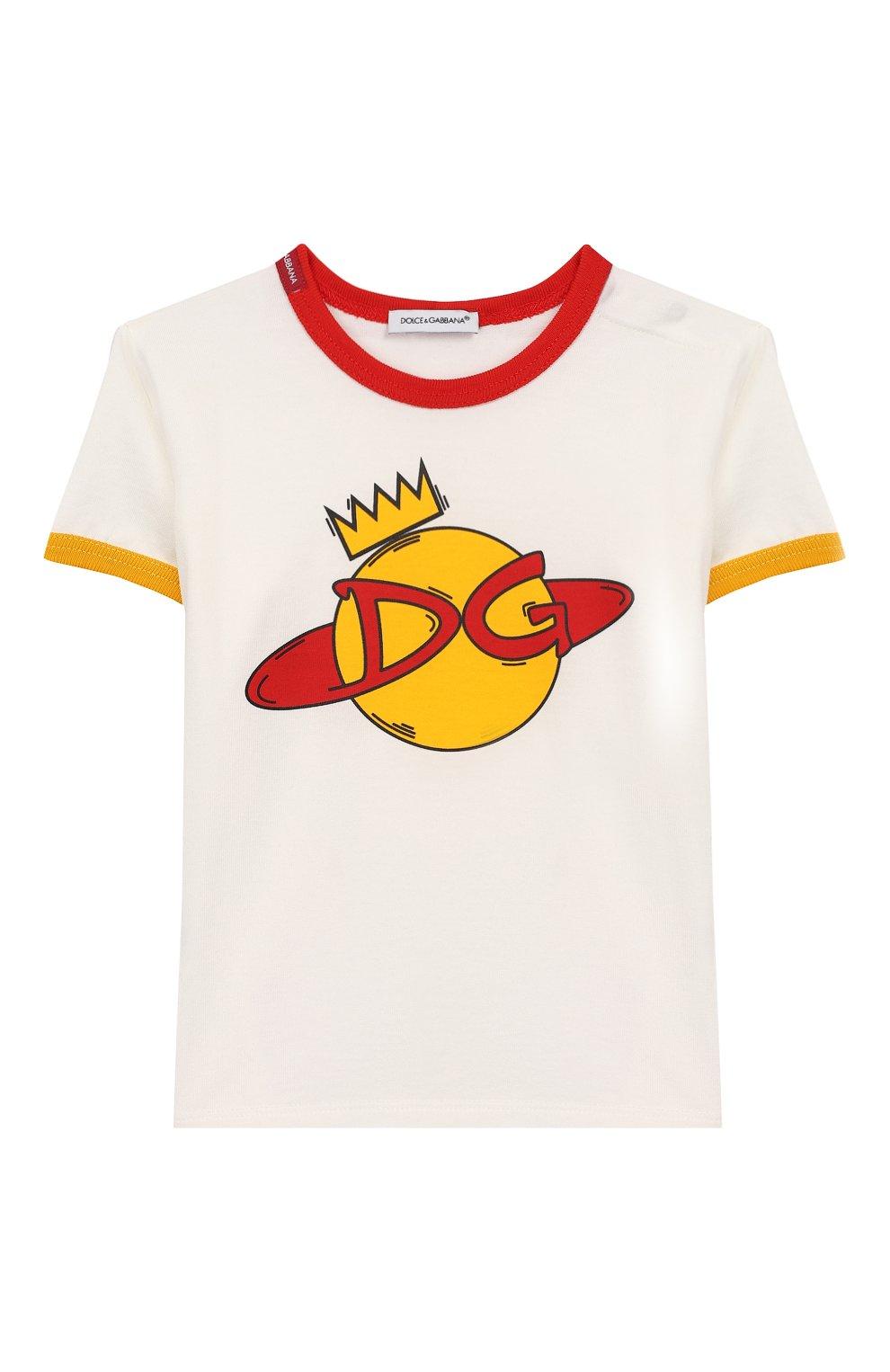 Детский хлопковая футболка DOLCE & GABBANA белого цвета, арт. L1JTBC/G7V00 | Фото 1