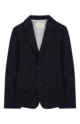 Детский хлопковый пиджак GUCCI синего цвета, арт. 600346/XWAHH | Фото 1