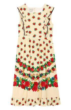 Детское хлопковое платье GUCCI разноцветного цвета, арт. 596311/XJCBJ | Фото 1