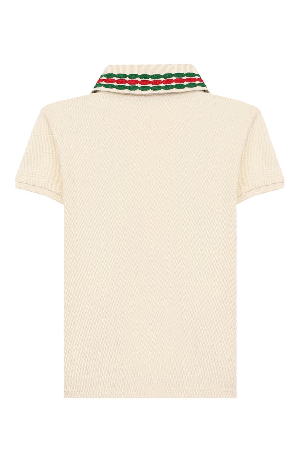 Детский хлопковое поло GUCCI белого цвета, арт. 596160/XJB3D   Фото 2 (Рукава: Короткие; Материал внешний: Хлопок; Ростовка одежда: 3 года   98 см)