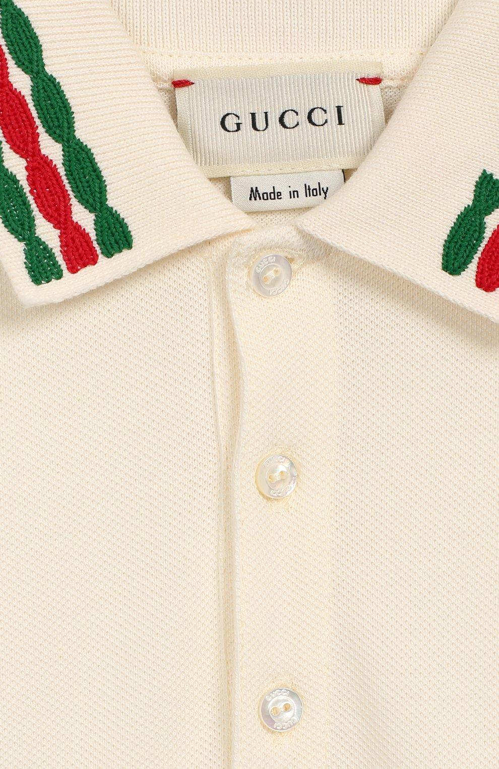 Детский хлопковое поло GUCCI белого цвета, арт. 596160/XJB3D   Фото 3 (Рукава: Короткие; Материал внешний: Хлопок; Ростовка одежда: 3 года   98 см)