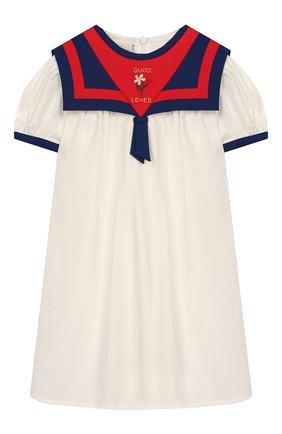 Женский хлопковое платье GUCCI белого цвета, арт. 596104/XWAHZ | Фото 1