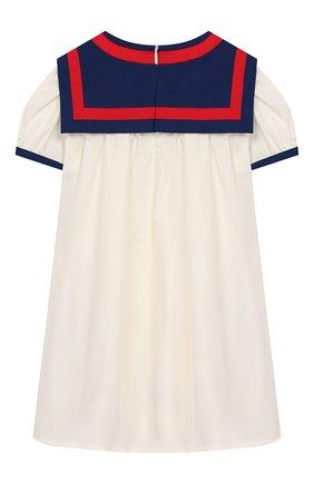 Женский хлопковое платье GUCCI белого цвета, арт. 596104/XWAHZ | Фото 2