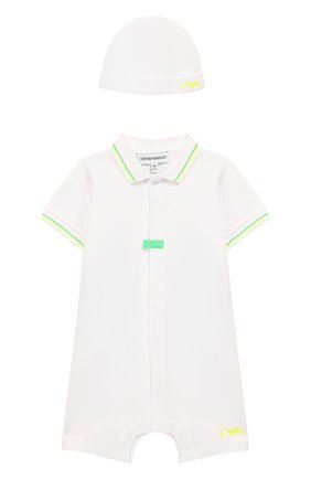 Детского комплект из комбинезона и шапки EMPORIO ARMANI белого цвета, арт. 3HHV28/4J35Z | Фото 1