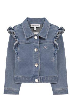 Детского джинсовая куртка EMPORIO ARMANI голубого цвета, арт. 3HEG01/3D0VZ | Фото 1