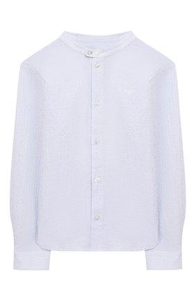 Детская хлопковая рубашка EMPORIO ARMANI голубого цвета, арт. 3H4C95/4N3XZ | Фото 1