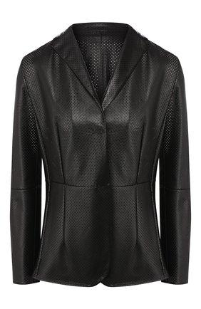Женская кожаный жакет KITON черного цвета, арт. D49574X08S57 | Фото 1