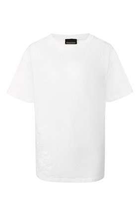 Женская хлопковая футболка ERMANNO ERMANNO SCERVINO белого цвета, арт. 46T TS15 JC0   Фото 1