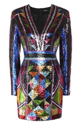 Женское платье с пайетками BALMAIN разноцветного цвета, арт. TF16318/P034 | Фото 1