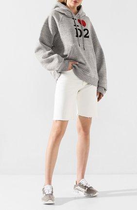 Женская хлопковое худи DSQUARED2 серого цвета, арт. S75GU0275/S25148 | Фото 2