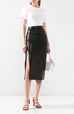 Женская кожаная юбка TWINS FLORENCE черного цвета, арт. TWFPE20G0N0006 | Фото 2