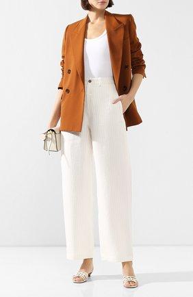 Женские льняные брюки TWINS FLORENCE кремвого цвета, арт. TWFPE20PAN0002 | Фото 2