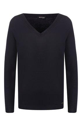 Женский пуловер из смеси кашемира и шелка KITON темно-синего цвета, арт. D49702055   Фото 1 (Материал внешний: Шелк, Шерсть, Кашемир; Рукава: Длинные; Длина (для топов): Стандартные; Женское Кросс-КТ: Пуловер-одежда; Статус проверки: Проверена категория)