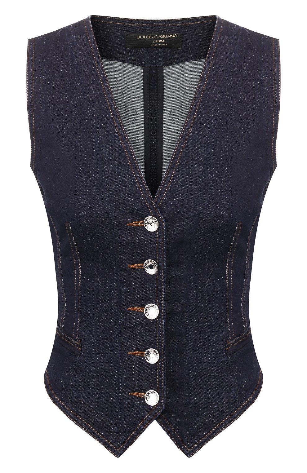 Женский джинсовый жилет DOLCE & GABBANA темно-синего цвета, арт. F79U5D/G899X | Фото 1