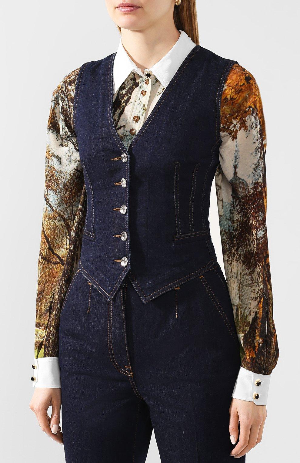 Женский джинсовый жилет DOLCE & GABBANA темно-синего цвета, арт. F79U5D/G899X | Фото 3