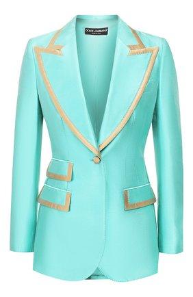 Женский шелковый жакет DOLCE & GABBANA бирюзового цвета, арт. F29ECT/FU1L5 | Фото 1