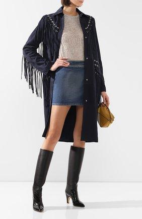 Женский кожаный плащ GABRIELA HEARST темно-синего цвета, арт. 320604 L005 | Фото 2