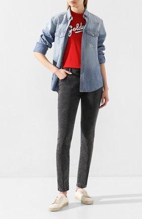 Женская джинсовая рубашка GOLDEN GOOSE DELUXE BRAND голубого цвета, арт. G36WP0D3.A1 | Фото 2