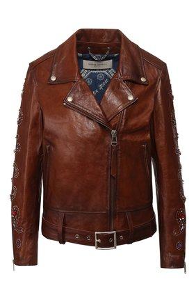 Женская кожаная куртка GOLDEN GOOSE DELUXE BRAND коричневого цвета, арт. G36WP036.A3 | Фото 1