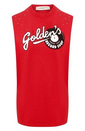 Женская хлопковая майка GOLDEN GOOSE DELUXE BRAND красного цвета, арт. G36WP023.Y7 | Фото 1