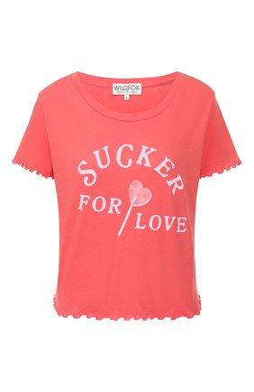 Женская хлопковая футболка WILDFOX красного цвета, арт. WCJ2723L4   Фото 1