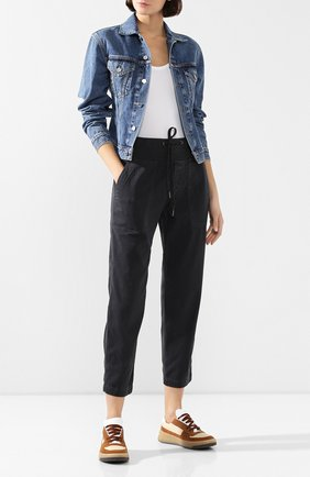 Женские хлопковые брюки JAMES PERSE черного цвета, арт. WACS1862 | Фото 2